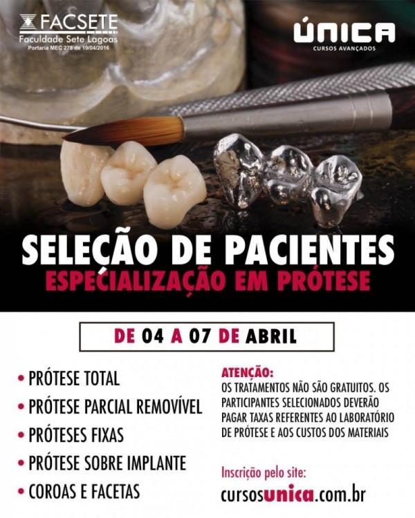 seleção de pacientes prótese - abril - Única Cursos Avançados em Odontologia Manaus